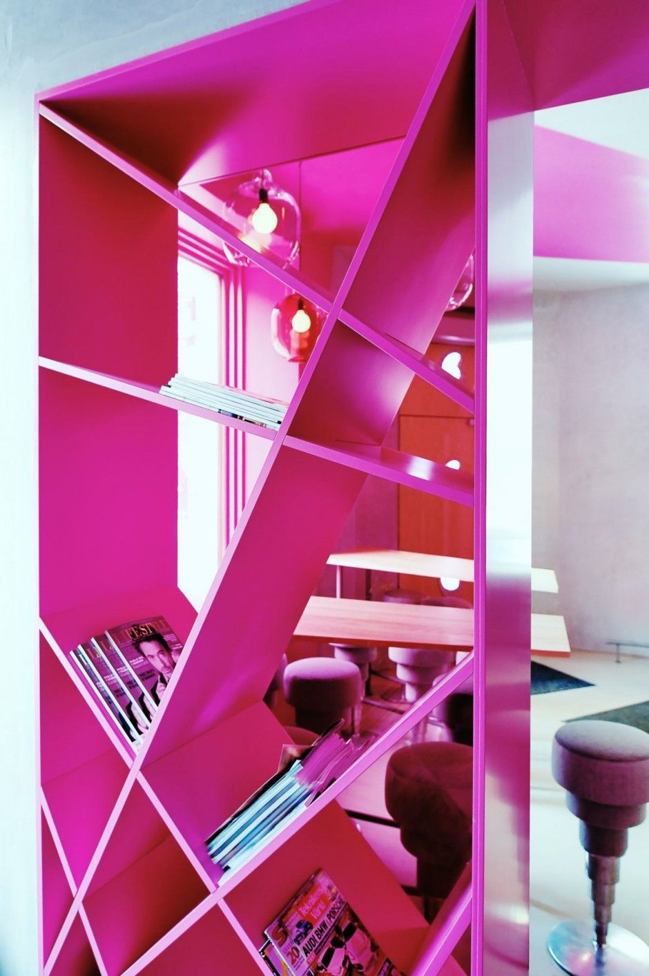 cafe foam colorful interior pink bookcase | bakery/event palnning