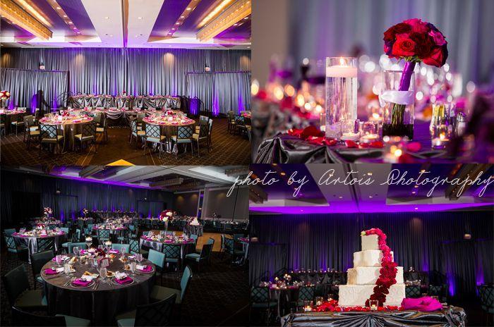Modern Berry Toned Wedding Hotel Arista Naperville Florist Flowers By Kiokreations