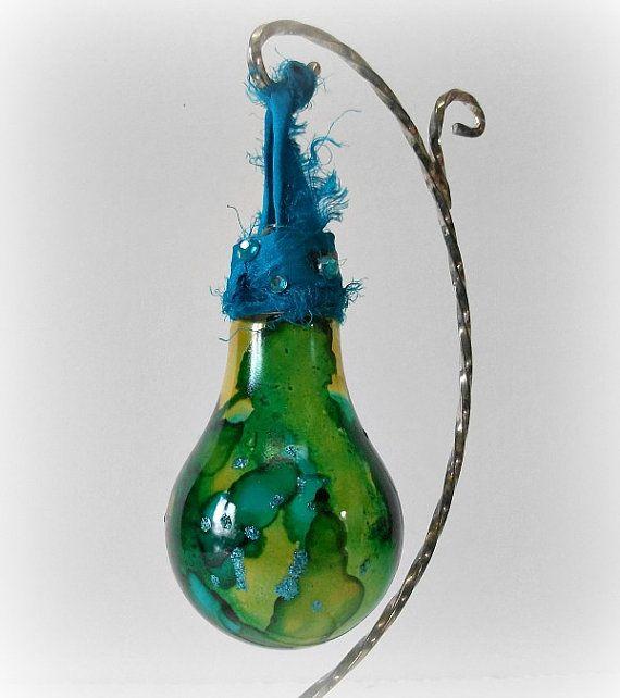 Glass Ornament Light Bulb Ornament Glass Art by LilyGraceInspired
