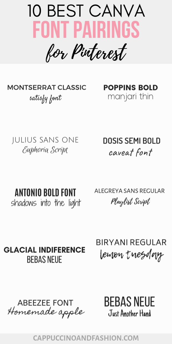 10 Best Canva Font Pairings - Free Pinterest Fonts - Cappuccino and Fashion