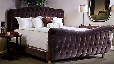 Aubergine Purple Velvet Tufted Sleigh Bed King Size
