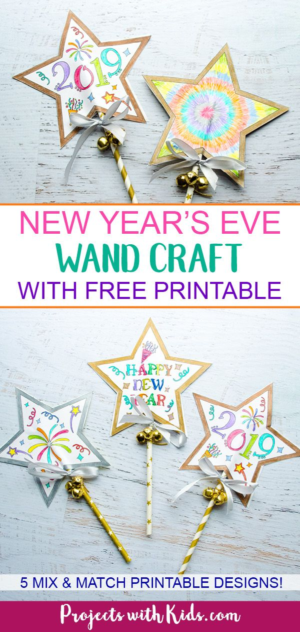 New Year's Eve Wand Craft with Free Printable | Projects with Kids