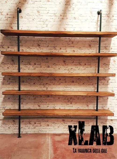 Libreria A Muro In Legno.Libreria Da Parete In Legno E Tubolari Semplici In Ferro Tavolo