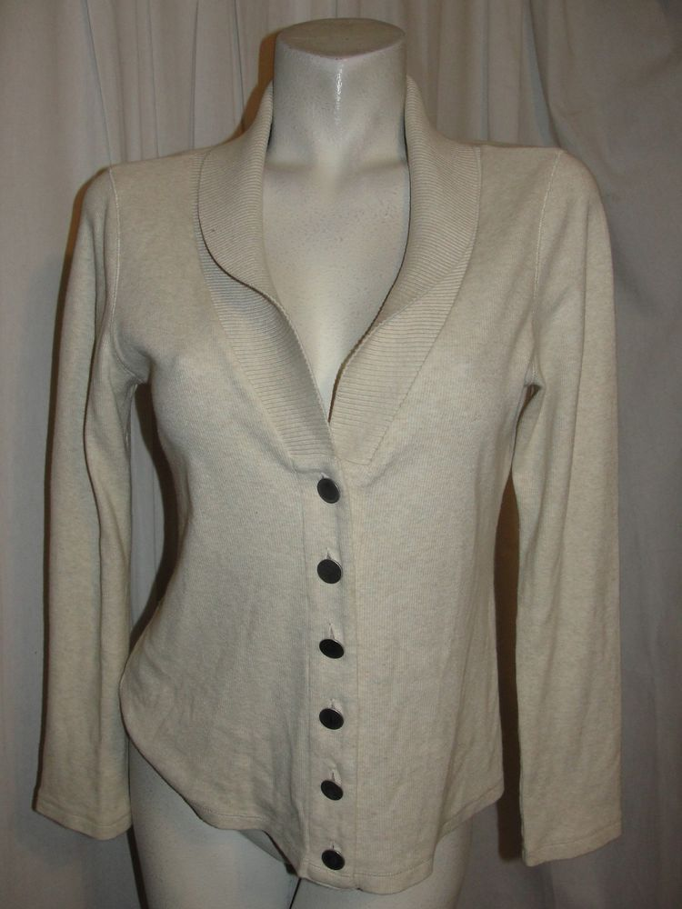 Details about RAFAELLA Womens Sweater Beige Shawl Collar LS Vneck ...