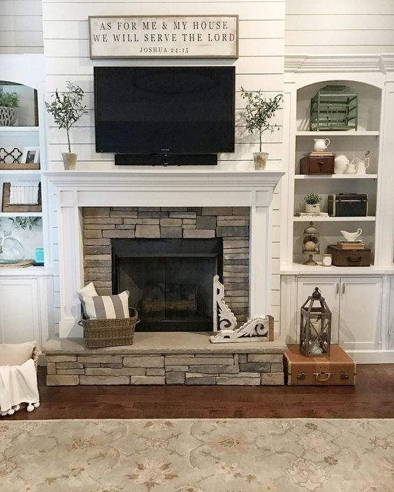 Ideas For Decorating Around A Tv Over The Fireplace Mantel Shiplap White Firepl Farm House Living Room Farmhouse Style Living Room Farmhouse Decor Living Room