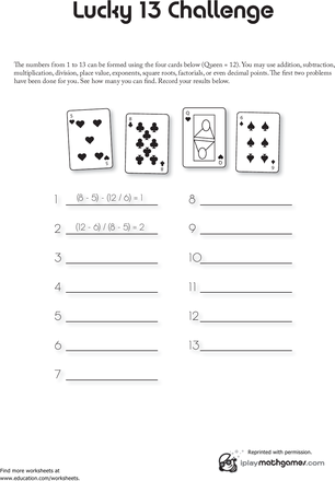 Math Card Game Lucky 13 Worksheet Education Com Printable Math Games Math Card Games Math Games