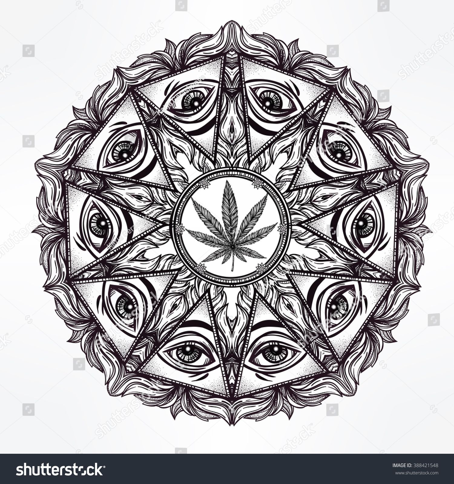Cannabis trip mandala symbol. Tattoo design. Vintage hand drawn ...