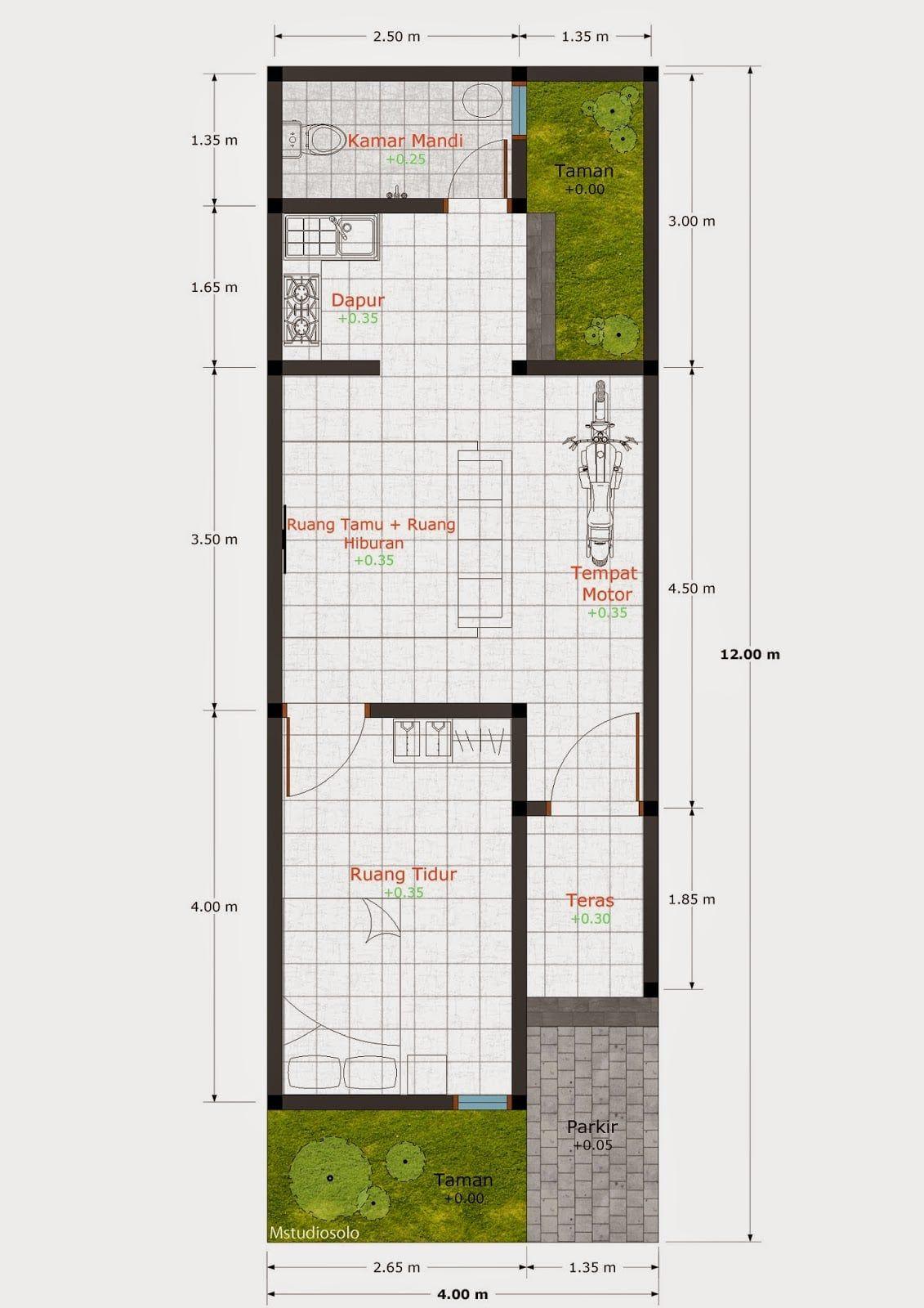 Desain Rumah Kontrakan 3x8 Cek Bahan Bangunan