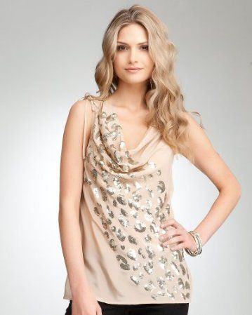 f3ededc65abc8a 5. a top to wear for sunset cocktails {Leopard Sequin Cowl Silk Tank }  #bebe #wishesanddreams