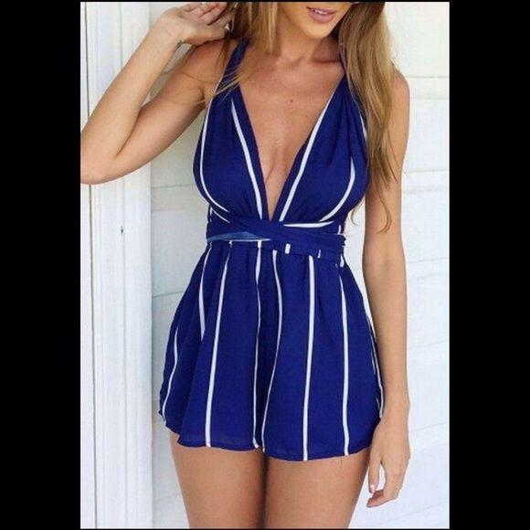 d06fe4f762d2 Gorgeous Blue   White Romper Navy Blue Striped Cross Back Backless Short  Jumpsuit! Tops