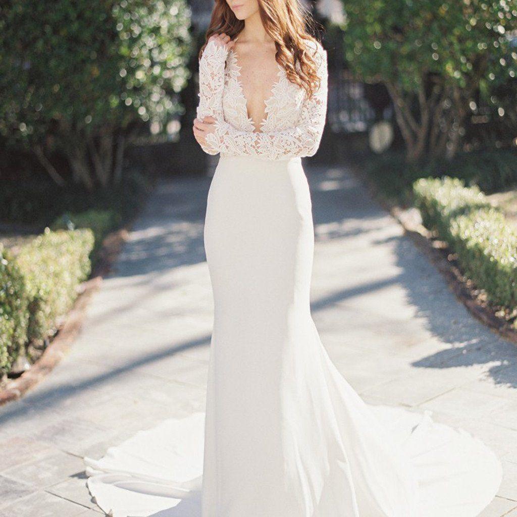 Lace wedding dress cheap december 2018  Sexy Deep VNeck Lace Top Mermaid Wedding Party Dresses long