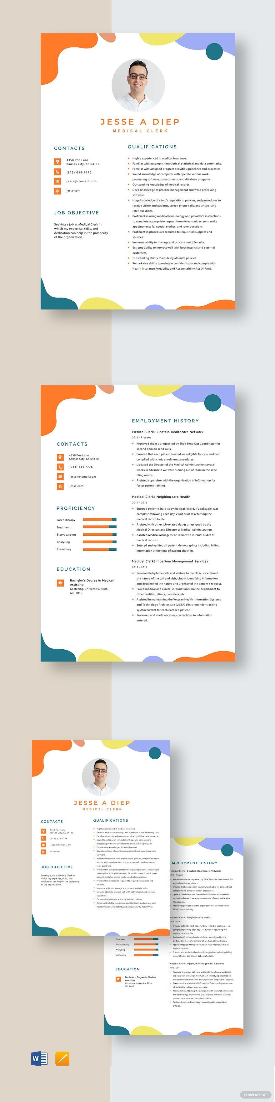 medical clerk resume template in 2020  resume template