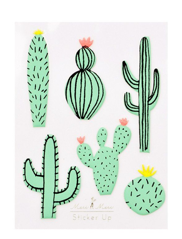 Cactus puffy stickers leif