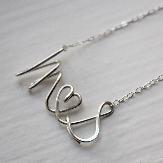 042f46e0f3 Script Letter Alphabet Couple Name Initials Love Wire Silver Gold Necklace  - Delicate Simple Modern Jewelry - PROUD, lovers by 5050 STUDIO on Etsy,  $48.50