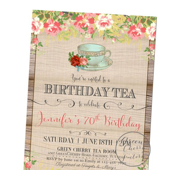 Adult Birthday Invitation ANY OCCASION By GreenCherryFactory 1800 Tea Party Invitations Invites 50th