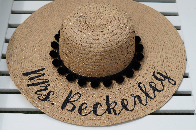 aa762466 Custom personalized sun floppy straw beach hat pom hand-painted Mrs.  wedding honeymoon bachelorette derby party