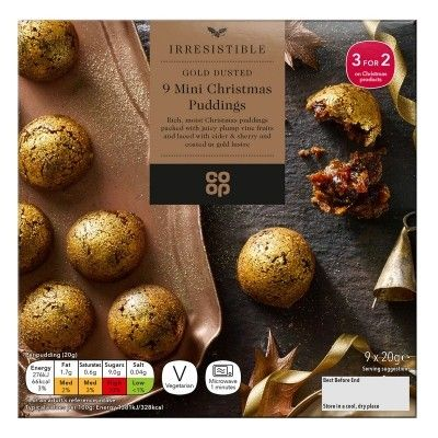 co op truly irresistible gold mini christmas pudding