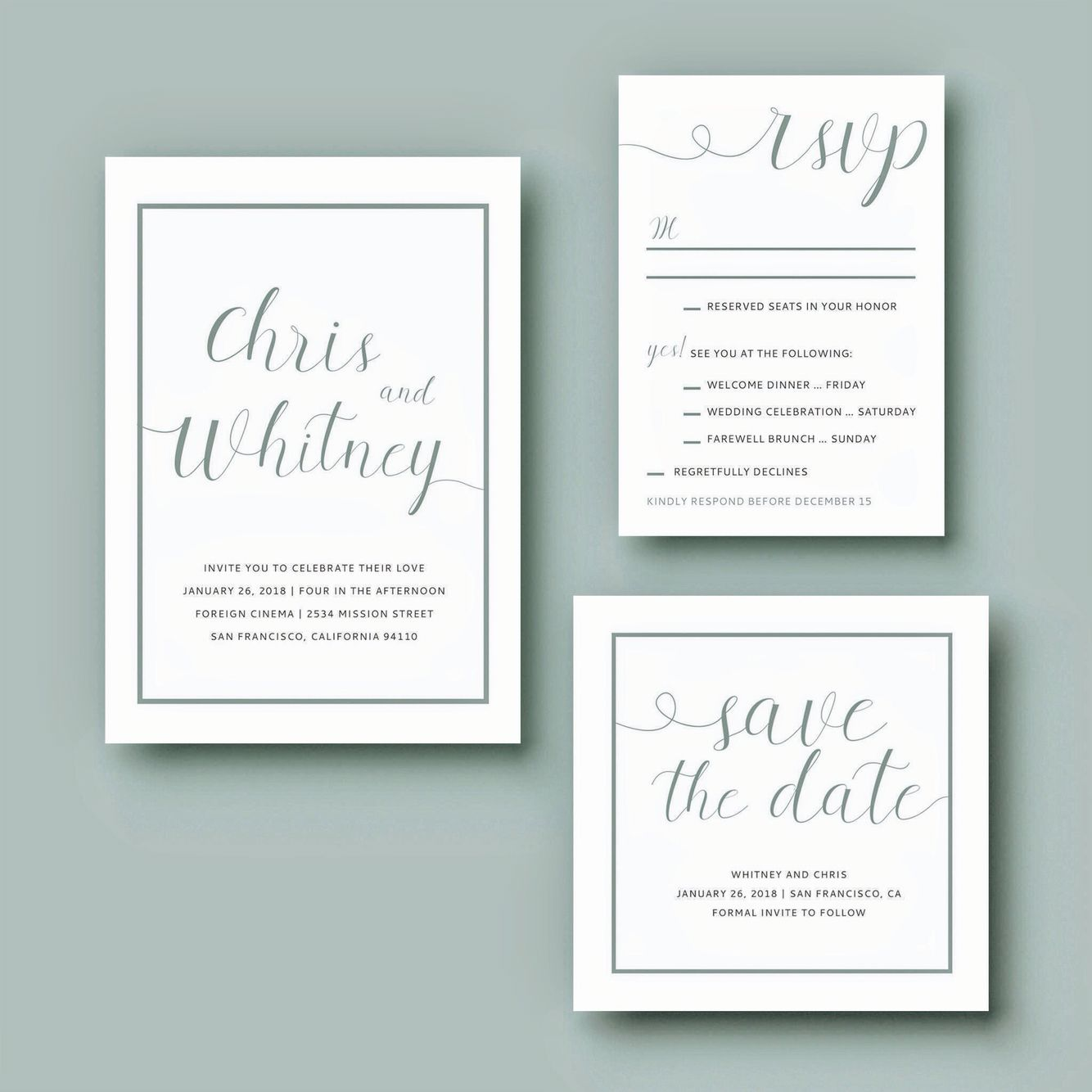 Mint Wedding Invitation Suite: Invitation + Save the Date + Weekend ...