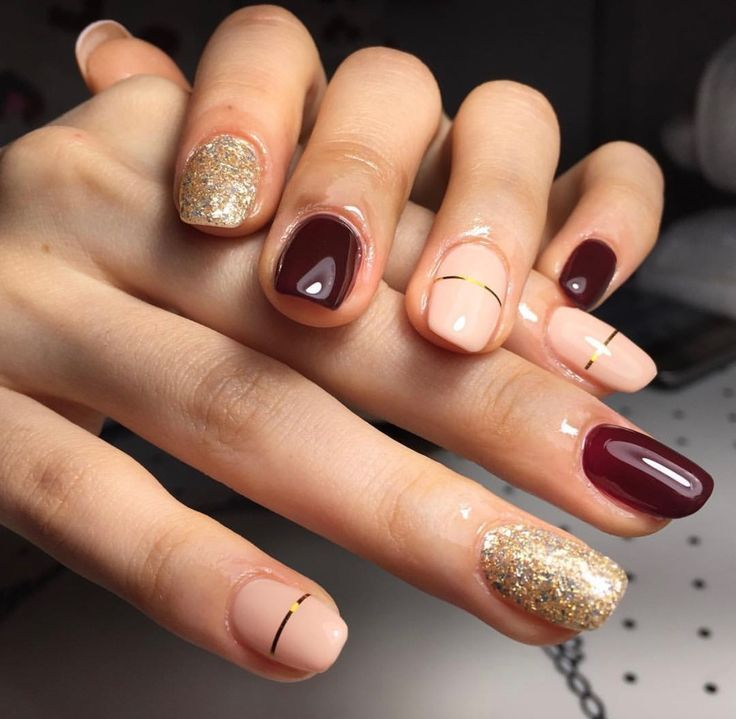 Gold and dark red nails | Nail Art | Pinterest | Dark red nails, Red ...