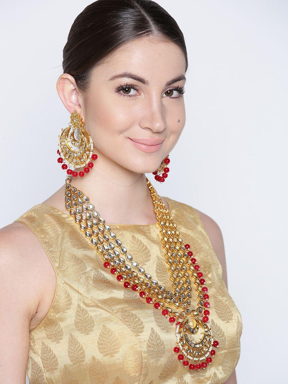 Buy Zobby Gold Plated Kundan Studded Beaded Layered Jewellery