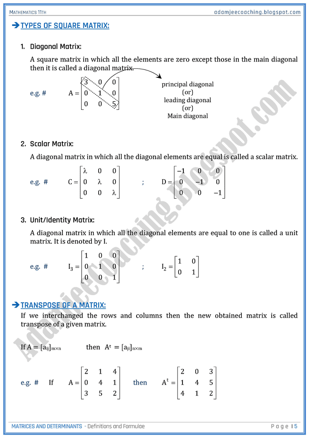 Matrices And Determinants Definitions And Formulae Mathematics 11th Matrices Math Mathematics Math Formulas