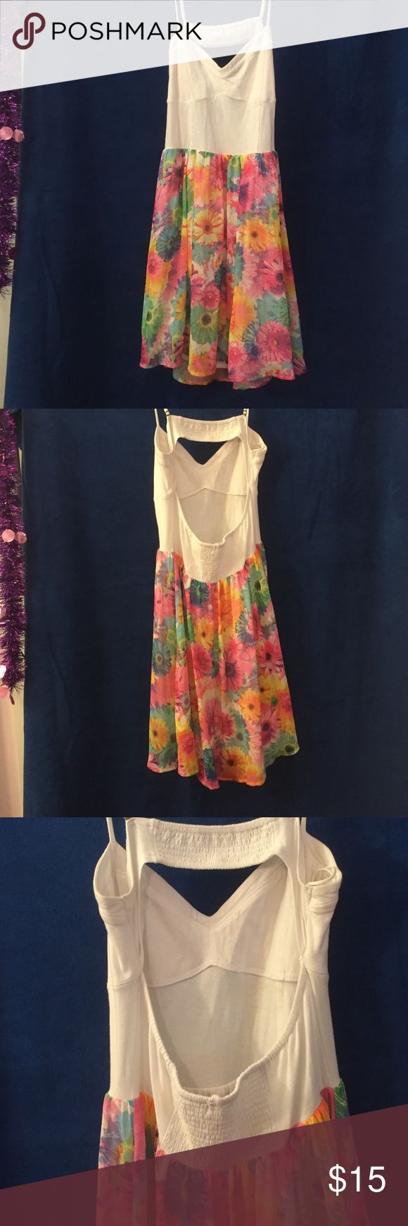 Floral spaghetti strap dress Floral, spaghetti strap, open back, summer dress, large Aeropostale Dresses Midi