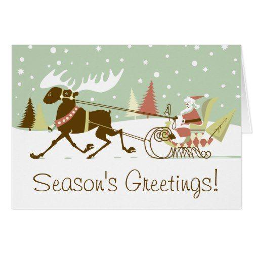 one moose open sleigh retro santa clause christmas card