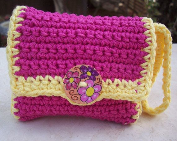 Hot Pink and Yellow with Handpainted Wooden Button by nenafaye