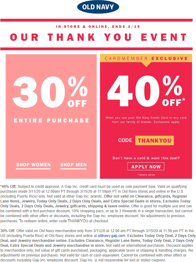Pinned March 12th 30 Off Everything At Oldnavy Ditto Online Thecouponsapp Shopping Coupons Old Navy Coupon Old Navy