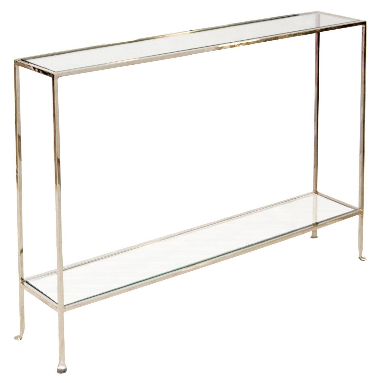 Worlds Away Skinny Console Clear Glass Sleek Nickel Candelabra Inc Skinny Sideboard Very Narrow Console Table Worlds Away