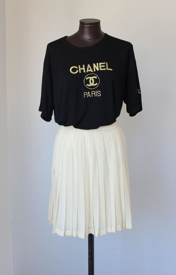 886f7ba8 vintage CHANEL t shirt / black w/ gold metallic embroidered logo ...
