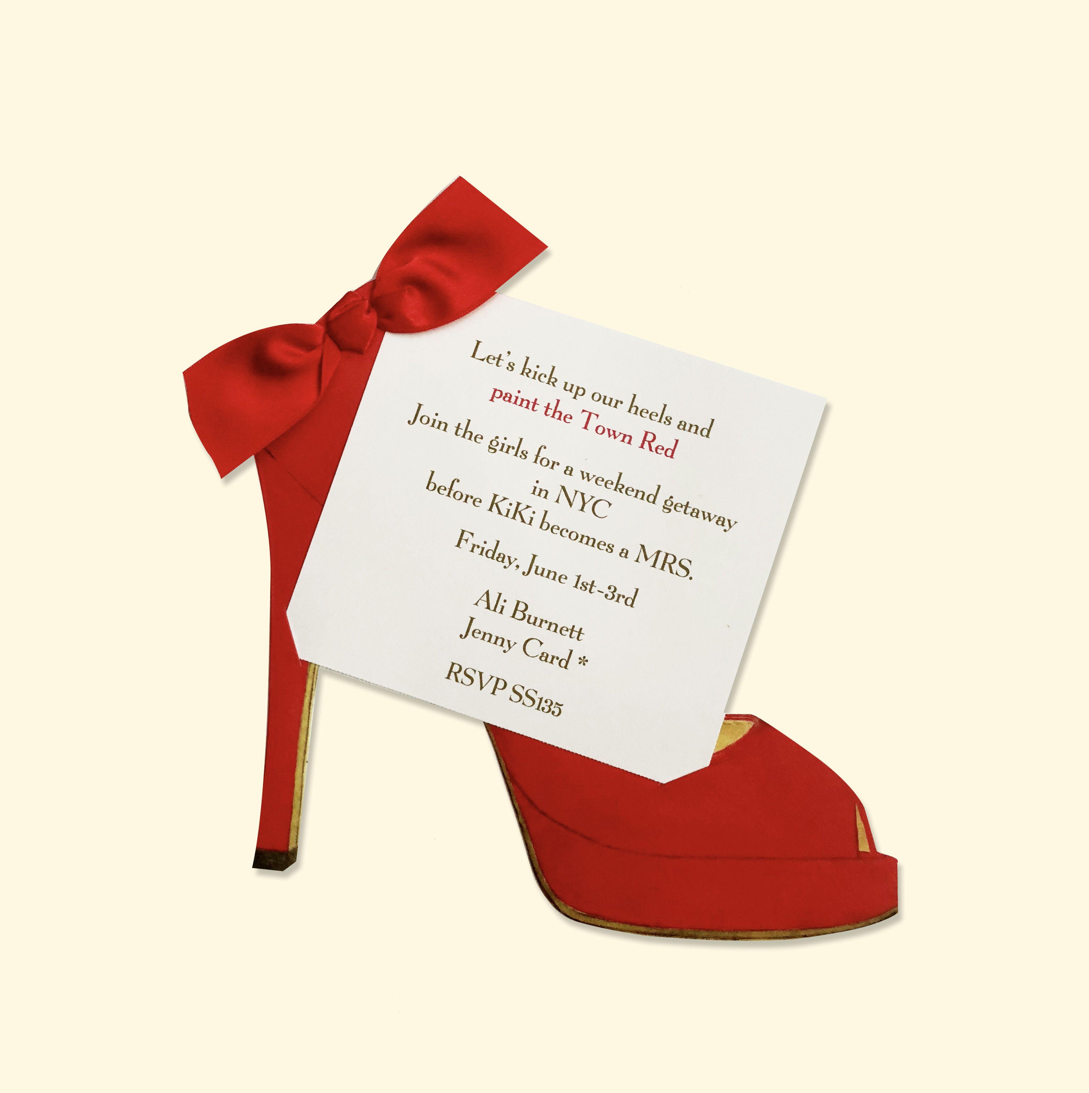 Red High Heel Card Potluck Invitation Valentines Day Baby Lunch Invitation