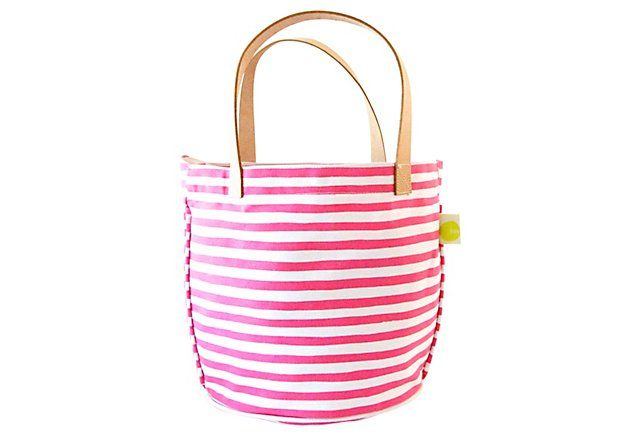 Leather Handle Karma Circle Tote, Pink | New! Now! | One Kings Lane