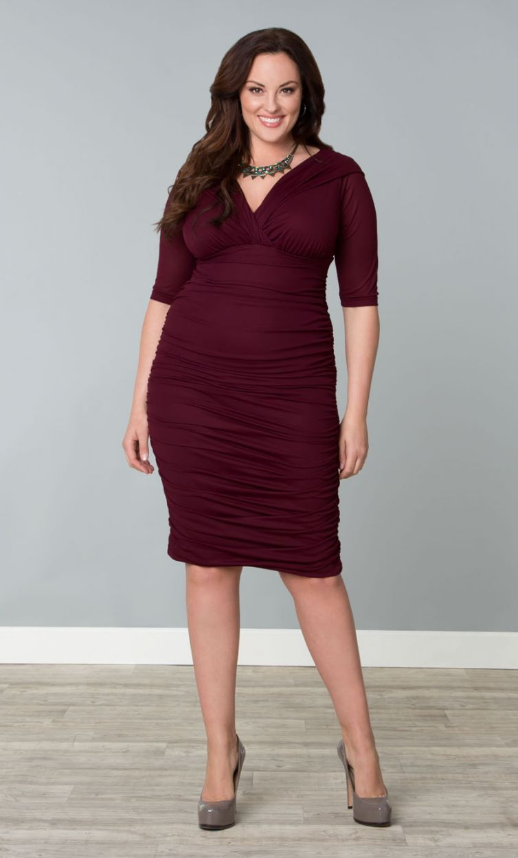bb805f6f918 Plus Size Betsey Ruched Dress - Raspberry Wine Plus Size Ruched Dress -  Available for LIMITED TIME at ADDITIONAL 50% OFF!