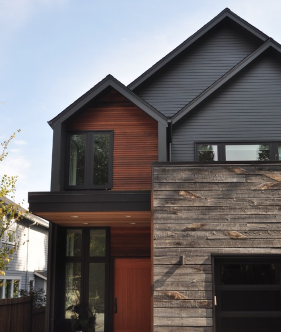 Decorating An Accent Wall Outside Steel Siding: Do You Like This Color Scheme With The Reclaimed Wood