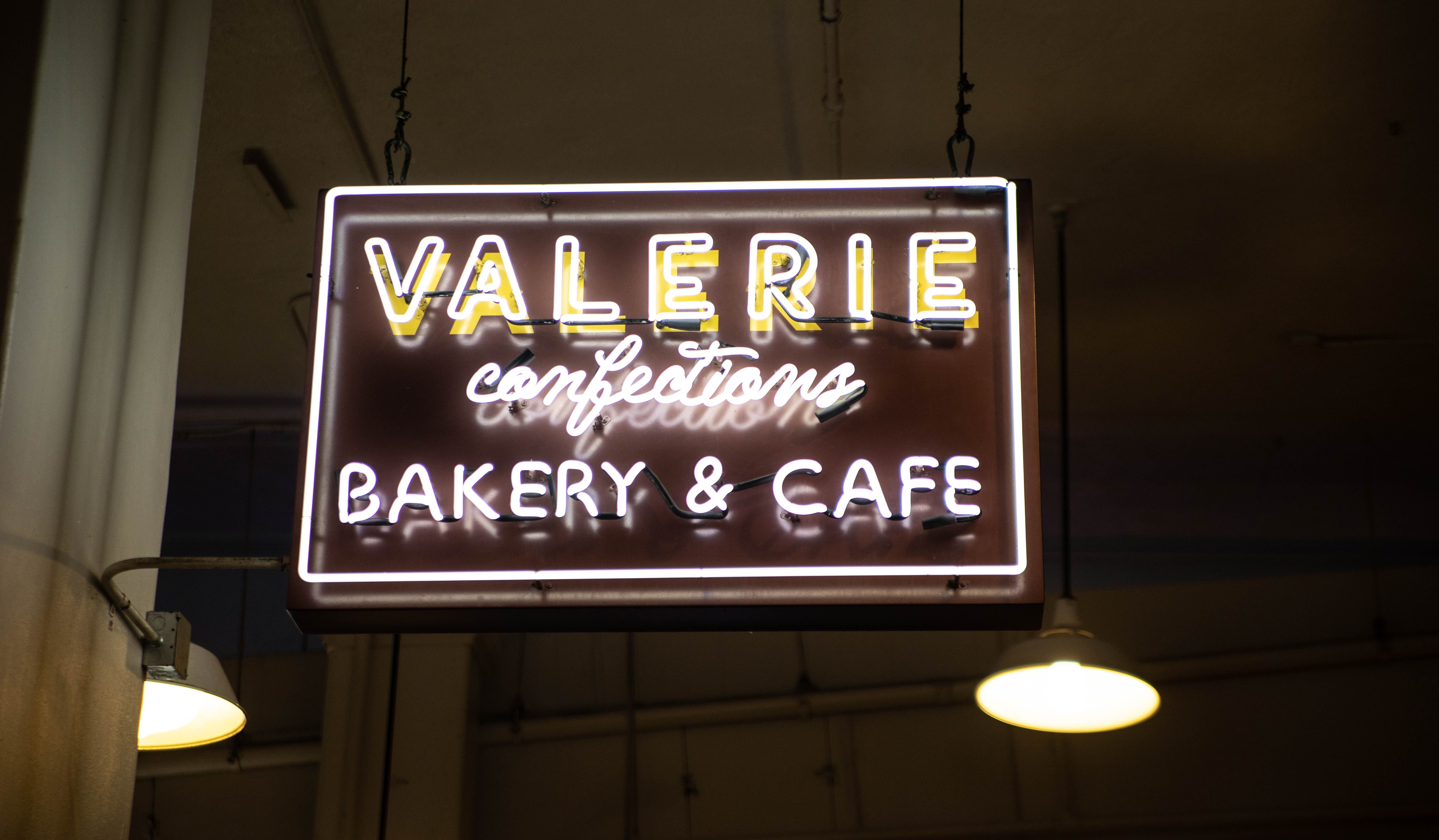 Valerie Confections Bakery Cafe Neon Signs At Grand Central Market In Los Angeles Central Market Bakery Cafe Organic Juice