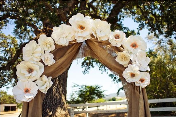 Burlap draped across the archway and decorated with big paper flowers !!!