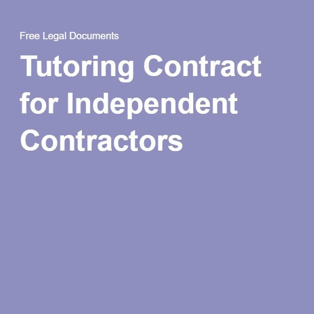 Tutoring Contract for Independent Contractors   Assessment   Pinterest