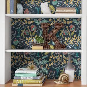 Nuwallpaper Groovy Garden Navy Peel And Stick Wallpaper Nu3038 The Home Depot Peel And Stick Wallpaper Wallpaper Bookshelf Wallpaper Shelves