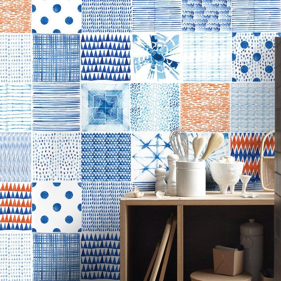 shibori tile decals tile stickers kitchen tiles wand design pinterest. Black Bedroom Furniture Sets. Home Design Ideas