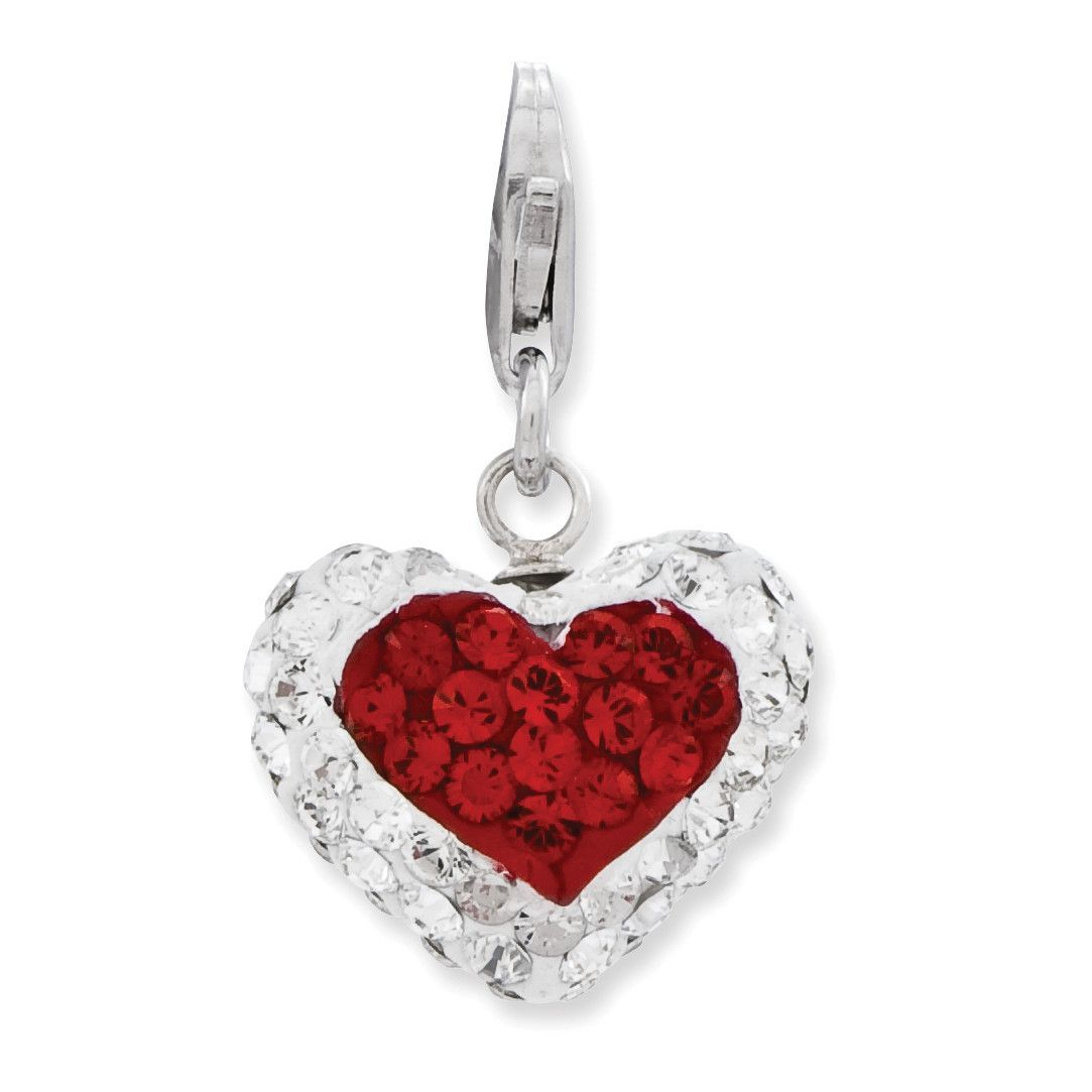 Sterling Silver 3-D Red/White Crystal Heart w/Lobster Clasp Charm QCC853