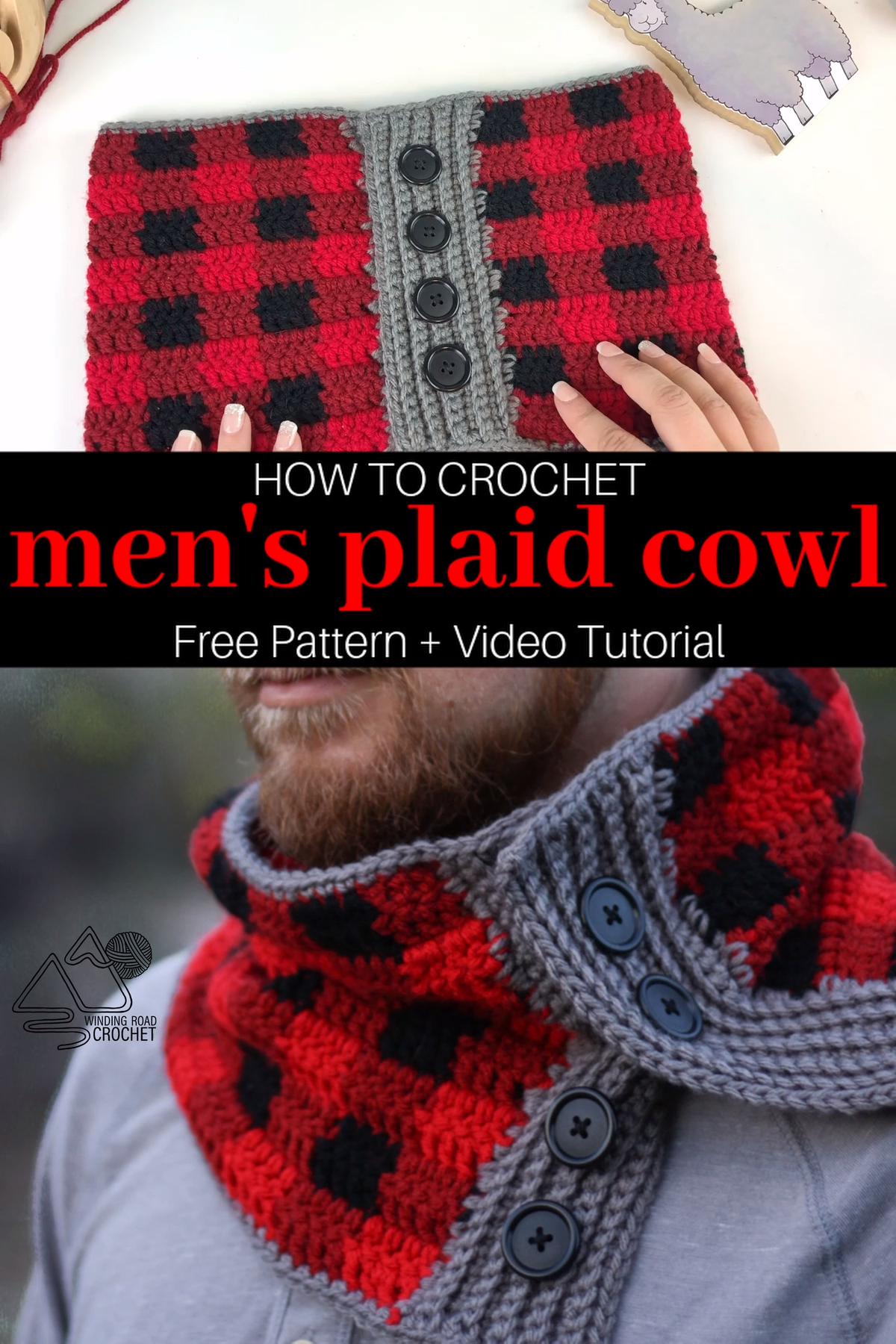 Photo of How to Crochet a Men's Plaid Cowl Video Tutorial