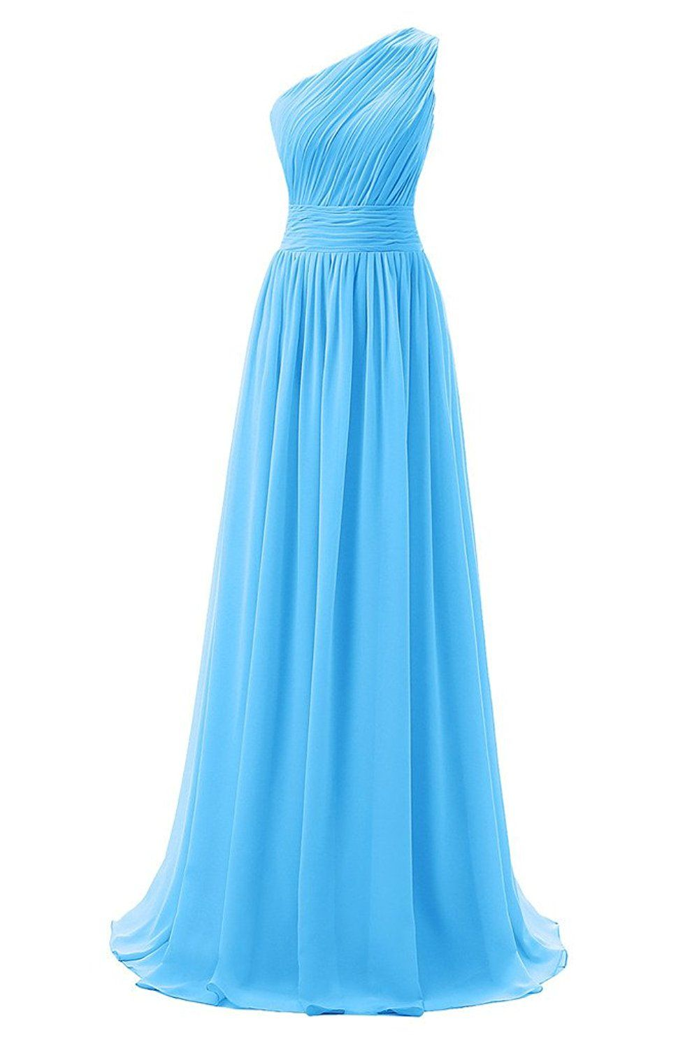 Dressever womenus long one shoulder bridesmaid chiffon prom evening