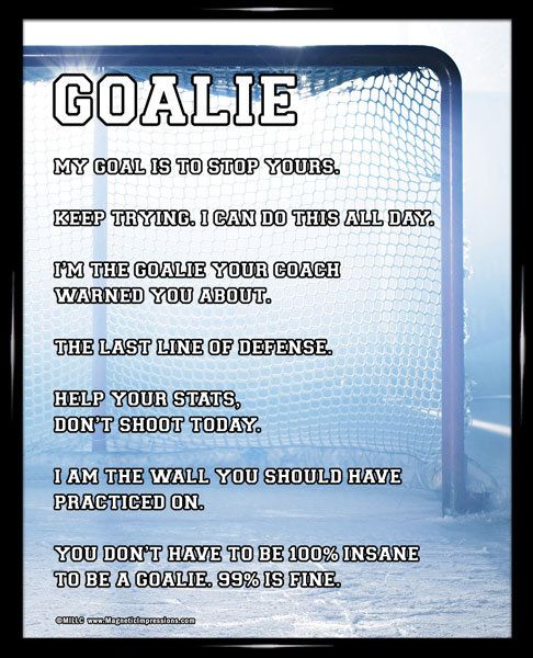Ice Hockey Goalie Net 8x10 Sport Poster Print Hockey Goalie Goalie Quotes Field Hockey Goalie
