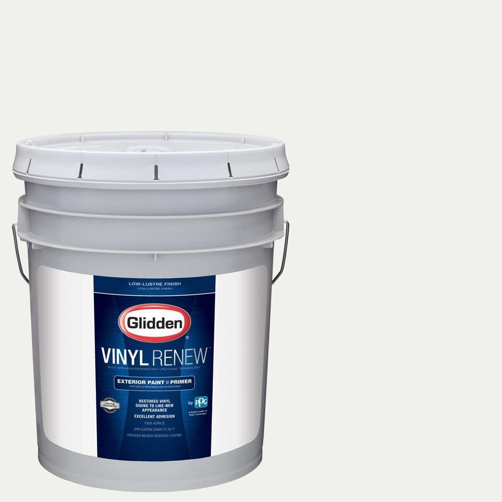 Glidden Vinyl Renew 5 Gal Hdgy56 White On White Low Lustre Exterior Paint With Primer Hdgy56v 05v Exterior Paint Interior Paint Paint Primer