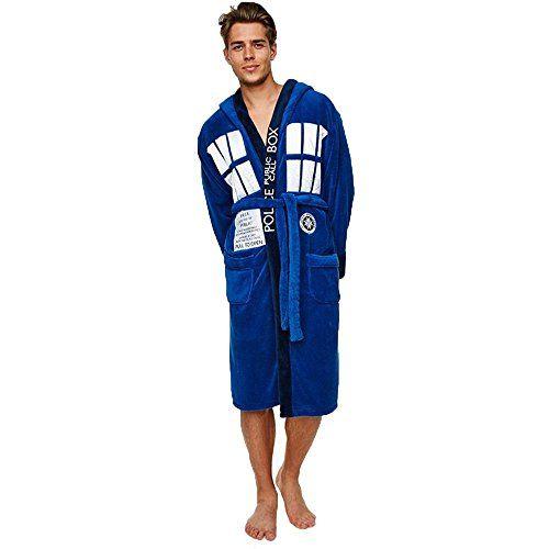 Groovy Dr Who Tardis Mens Adult Fleece Hooded Dressing Gown Bathrobe ...