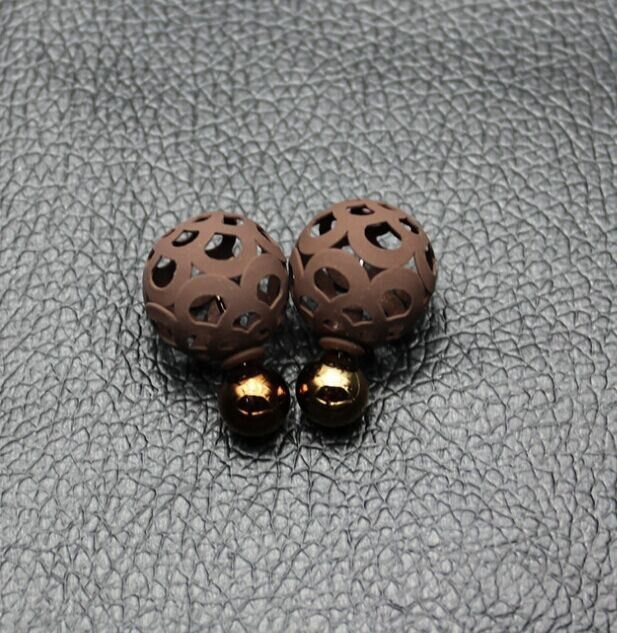 Summer style simple double color ball earrings