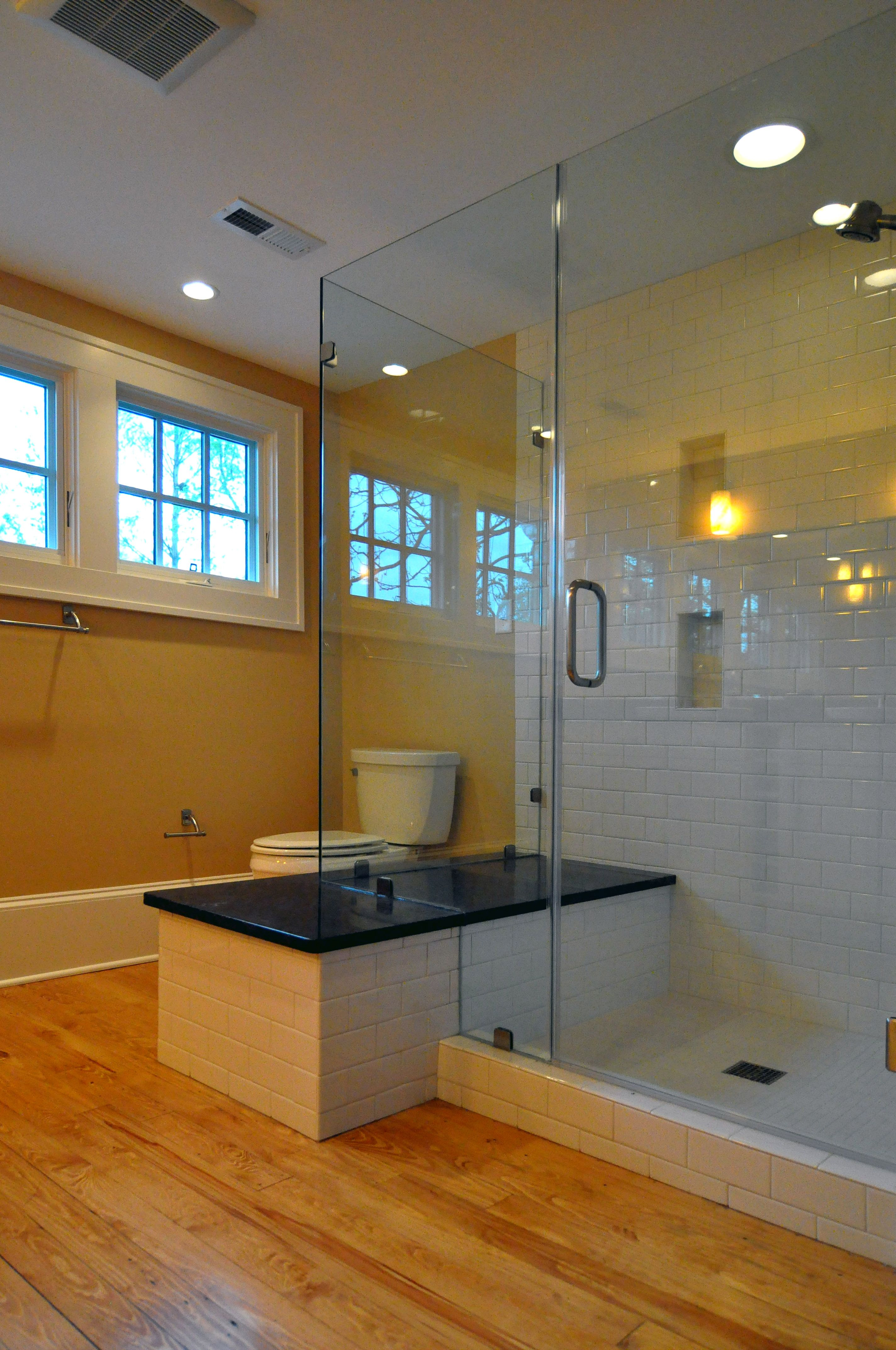 glass shower/bench (not so sure about the exposed toilet - maybe his ...