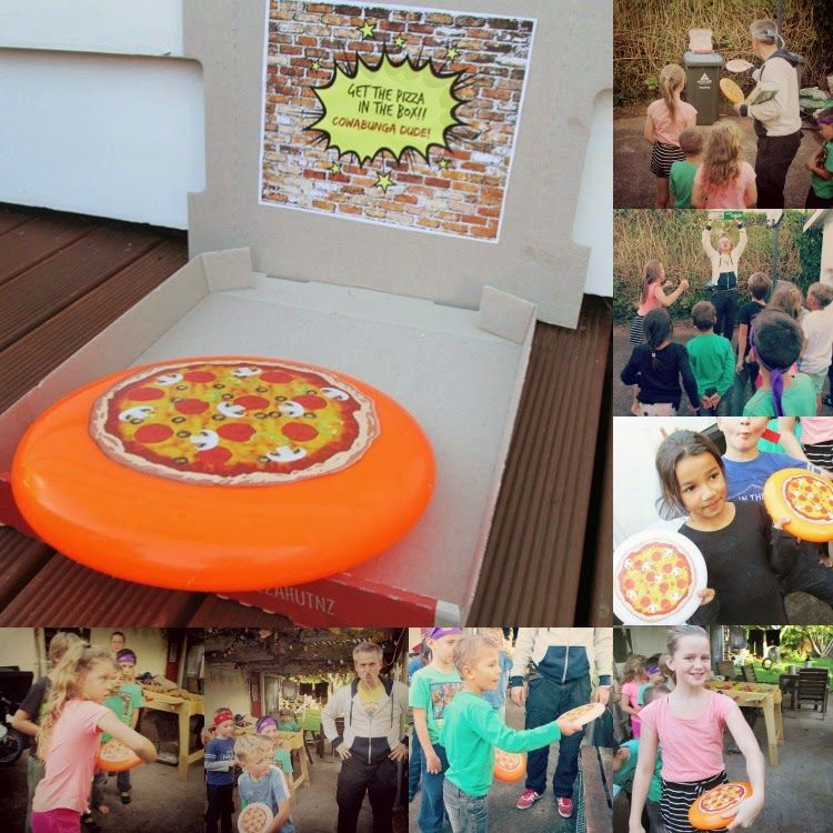 """TMNT Party Game: """"Get The Pizza (frisbee) In The Box"""
