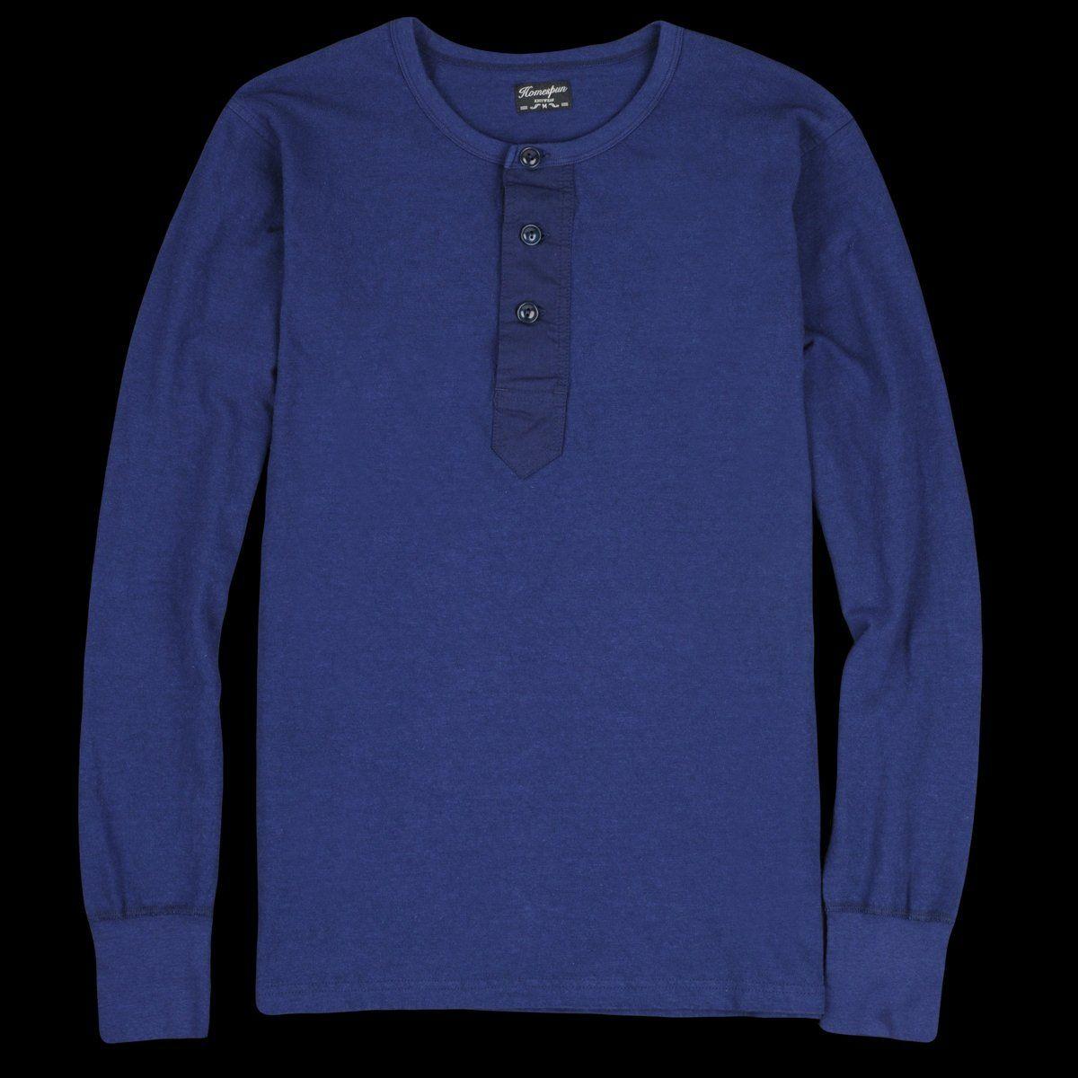 Homespun Knitwear Zimbabwe Jersey Surplus Henley In Indigo Henley Long Sleeve Tshirt Men Mens Tops